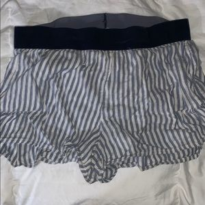 Blue and white striped soft shorts